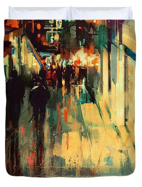 Night Alleyway Duvet Cover