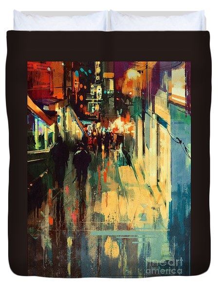 Night Alleyway Duvet Cover