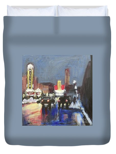 Night Around Michigan Theater Duvet Cover