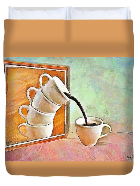Duvet Cover featuring the painting Night At The Art Gallery - Instant Coffee by Wayne Pascall