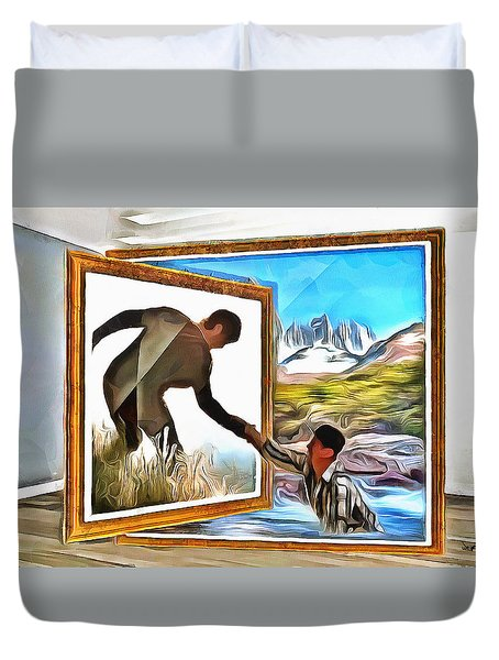 Duvet Cover featuring the painting Night At The Art Gallery - One To Another by Wayne Pascall