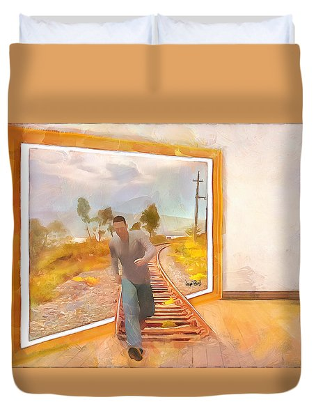 Duvet Cover featuring the painting Night At The Art Gallery - Railway To Freedom by Wayne Pascall