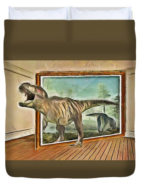 Duvet Cover featuring the painting Night At The Art Gallery - T Rex Escapes by Wayne Pascall