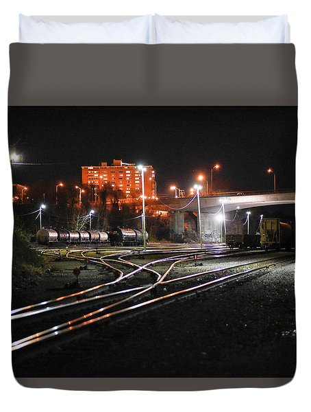 Night At The Railyard Duvet Cover