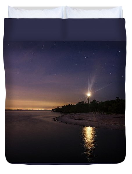 Night At The Sanibel Lighthouse Duvet Cover