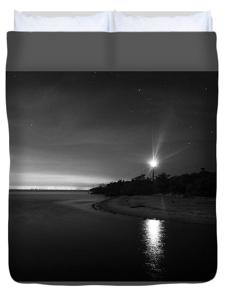 Night At The Sanibel Lighthouse In Black And White Duvet Cover