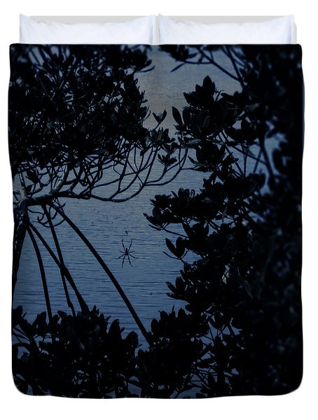 Duvet Cover featuring the photograph Night Banana Spider by Megan Dirsa-DuBois