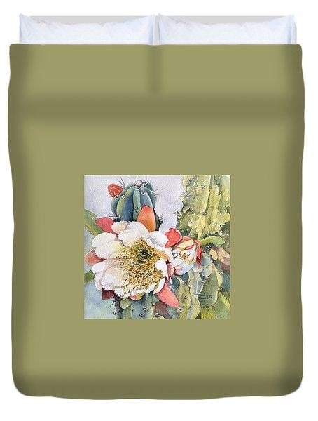 Night Bloomimg Cactus  Duvet Cover