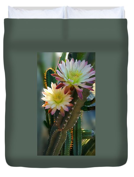 Duvet Cover featuring the photograph Night-blooming Cereus 4 by Marilyn Smith