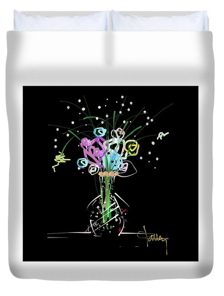Duvet Cover featuring the mixed media Night Bouquet by Larry Talley