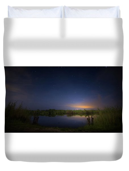 Night Brush Fire In The Everglades Duvet Cover