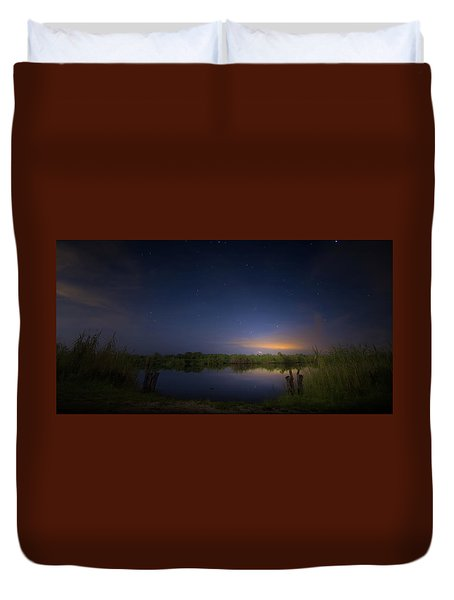 Night Brush Fire In The Everglades Duvet Cover by Mark Andrew Thomas