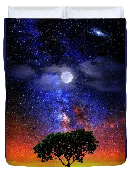 Duvet Cover featuring the photograph Night Colors by Justin Kelefas