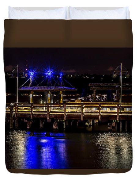 Night Falls On Old Town Pier Duvet Cover