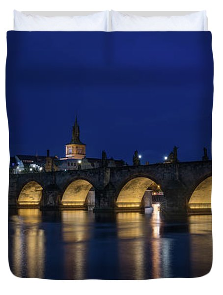 Night Falls Over Charles Bridge Prague Czech Republic Duvet Cover