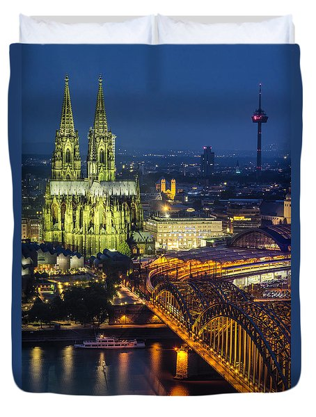 Night Falls Upon Cologne 1 Duvet Cover