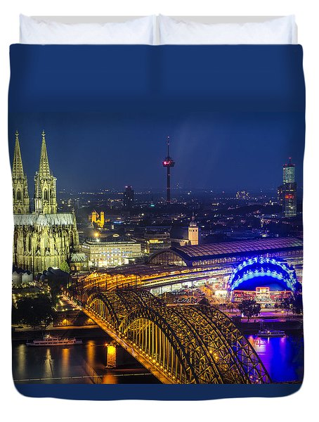 Night Falls Upon Cologne 2 Duvet Cover