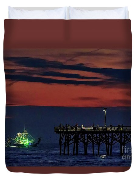 Night Fishing Duvet Cover