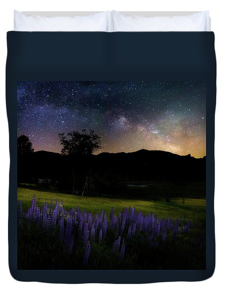 Duvet Cover featuring the photograph Night Flowers Square by Bill Wakeley