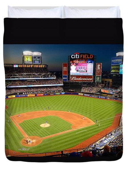 Night Game At Citi Field Duvet Cover