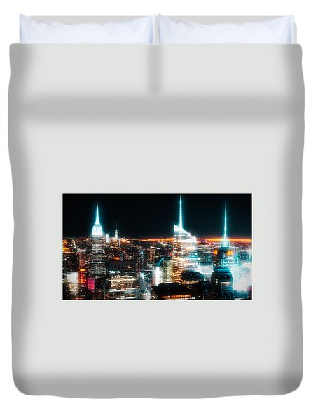 Duvet Cover featuring the mixed media Night Glow New York City by Dan Sproul
