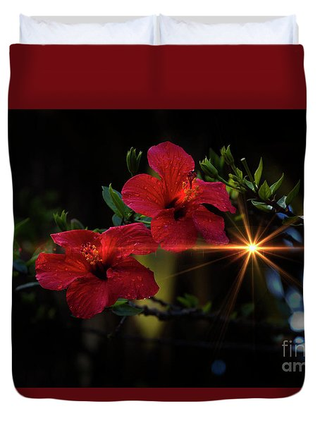 Night Hibiscus Duvet Cover by Al Bourassa