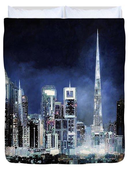 night in Dubai City Duvet Cover