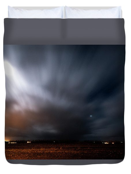 Duvet Cover featuring the photograph Night In Iceland by Dubi Roman