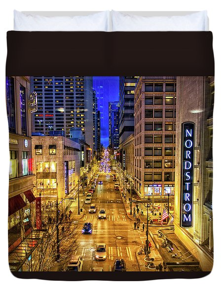 Night In Seattle Duvet Cover