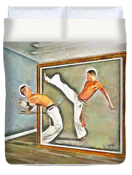 Duvet Cover featuring the painting Night At The Art Gallery - Martial Artists by Wayne Pascall