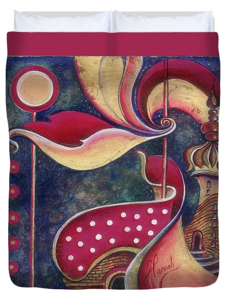 Duvet Cover featuring the painting Night In The City Of Gods by Anna Ewa Miarczynska
