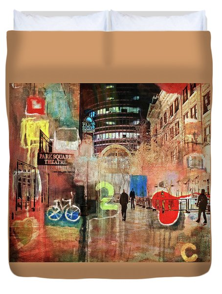 Duvet Cover featuring the photograph Night In The City by Susan Stone