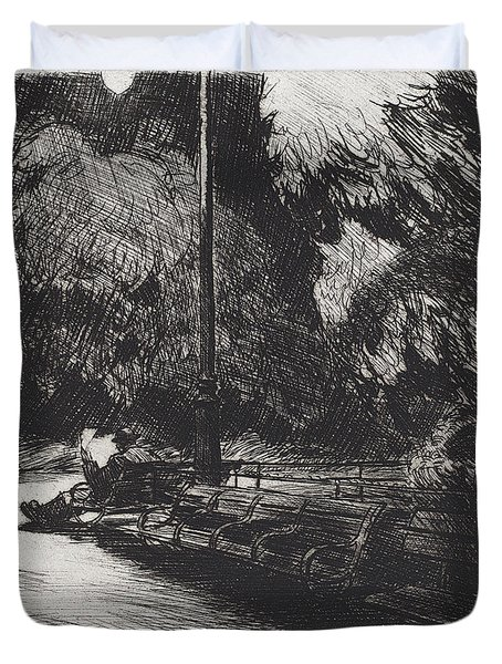 Night In The Park Duvet Cover