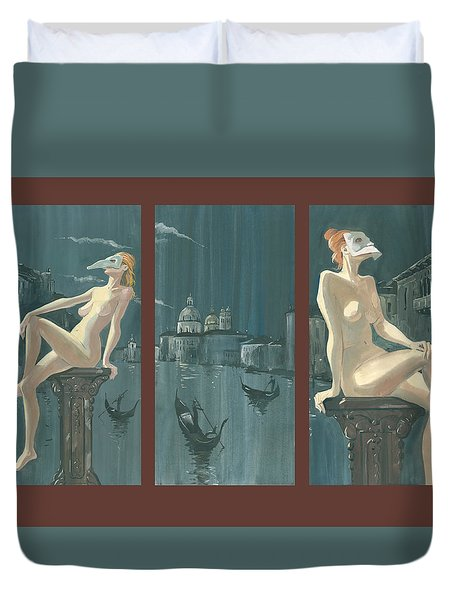 Night In Venice. Triptych Duvet Cover