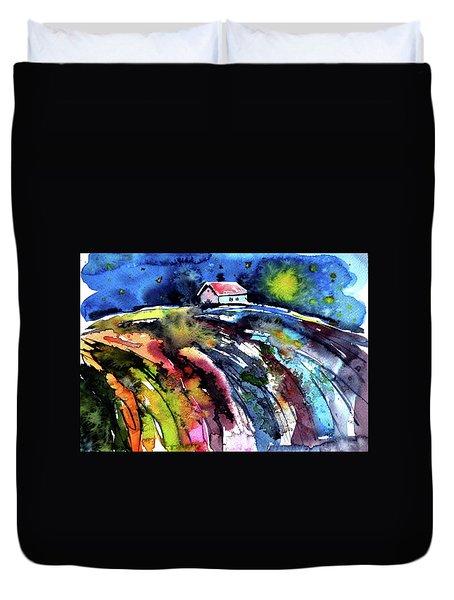 Duvet Cover featuring the painting Night by Kovacs Anna Brigitta