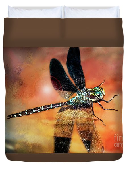 Night Light Of The Dragonfly Duvet Cover