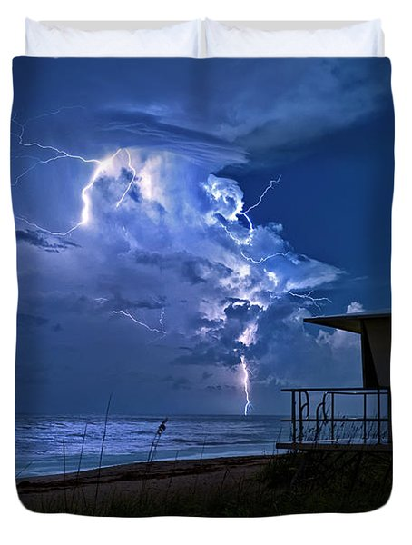 Night Lightning Under Full Moon Over Hobe Sound Beach, Florida Duvet Cover