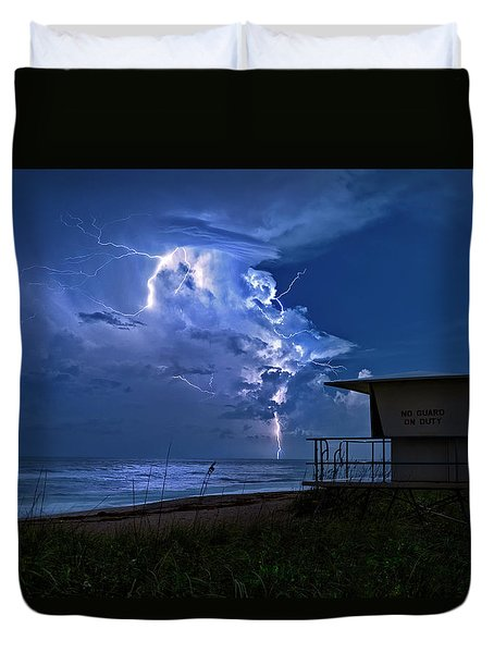 Duvet Cover featuring the photograph Night Lightning Under Full Moon Over Hobe Sound Beach, Florida by Justin Kelefas