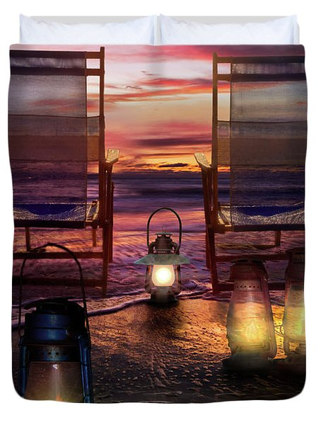 Duvet Cover featuring the photograph Night Lights At Sunset by Debra and Dave Vanderlaan