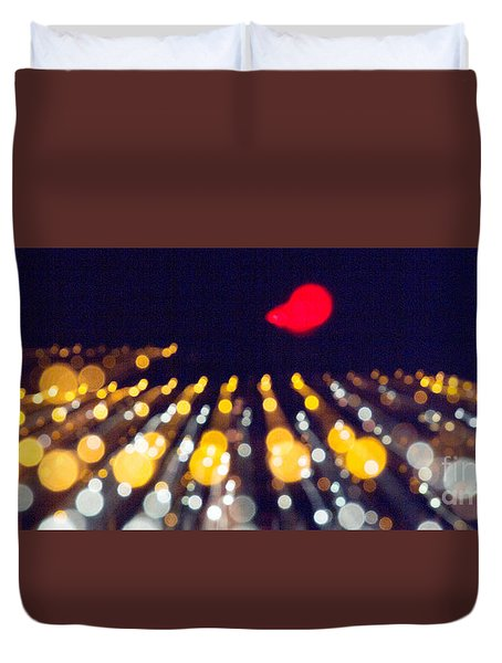 Duvet Cover featuring the photograph Night Lights During A Party by Odon Czintos