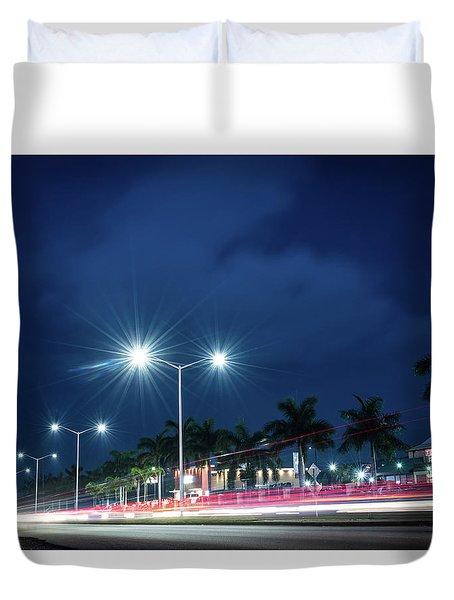 Night Lights In Montego Bay City Duvet Cover
