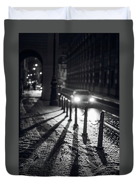 Duvet Cover featuring the photograph Night Lights. Prague by Jenny Rainbow