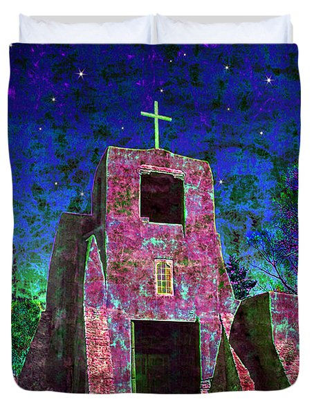Night Magic San Miguel Mission Duvet Cover by Kurt Van Wagner