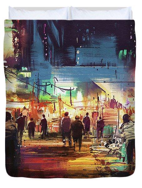 Night Market Duvet Cover