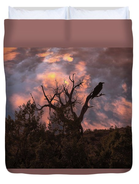 Night Of The Raven Duvet Cover