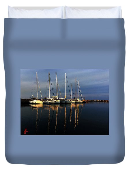 Night On Paros Island Greece Duvet Cover