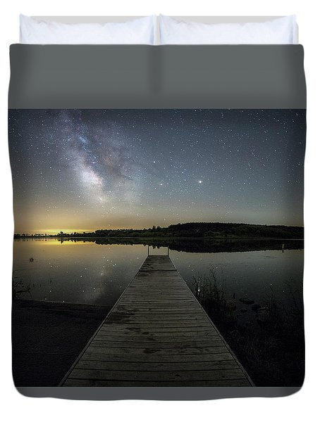 Night On The Dock Duvet Cover by Aaron J Groen