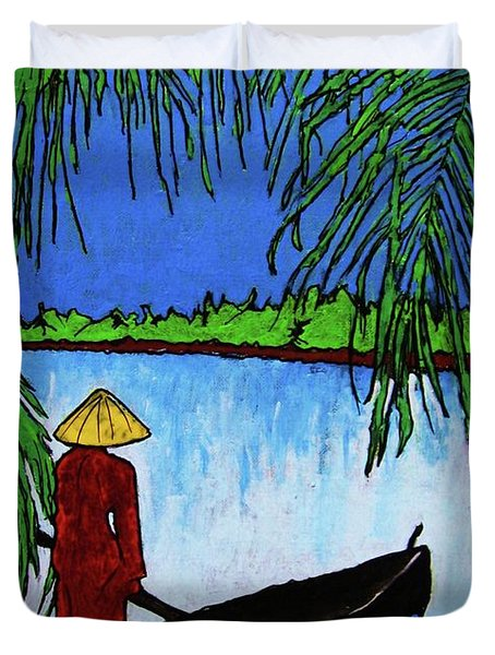 Duvet Cover featuring the painting Night On The Perfume River by Roberto Prusso