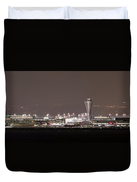 Duvet Cover featuring the photograph Night Operations by Alex Lapidus