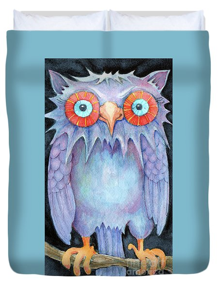 Duvet Cover featuring the painting Night Owl by Lora Serra